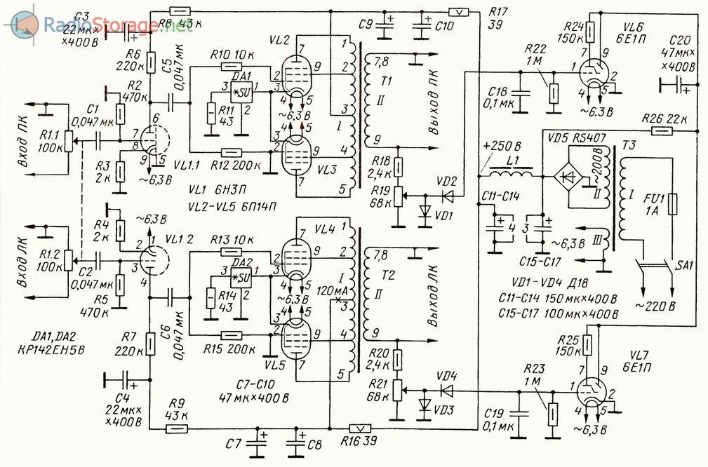 Принципиальная схема двухтактного лампового усилителя мощности на 6П14П