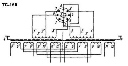Принципиальная схема трансформатора ТС-160